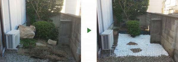 自宅の裏庭で防草対策と砂利敷き、飛び石を配置した事例