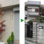車道に沿った、庭の植木の剪定 大阪市旭区