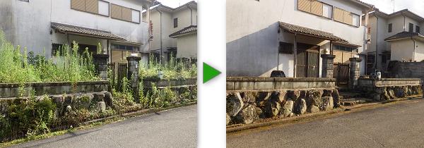 無人の一軒家の草刈り・薬剤散布