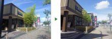 飲食店前の竹10本とサツキを伐採・剪定した事例の、前後画像