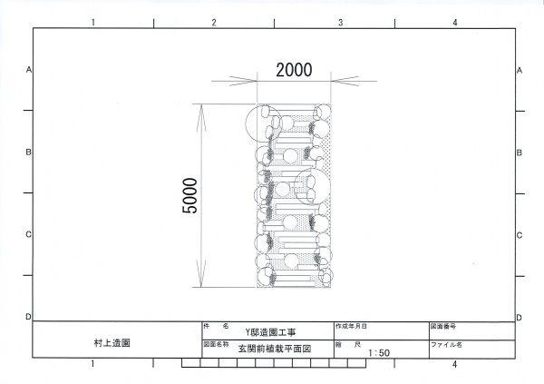 玄関前植栽平面図