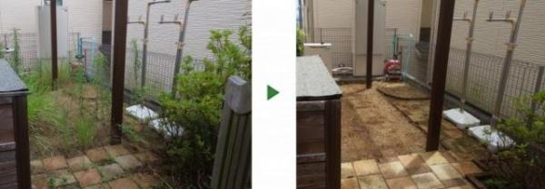 豊中市の除草&s除草剤散布の事例 施術前と後