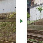斜面の庭づくり|芝張り・レンガ舗装・階段設置 大阪市淀川区
