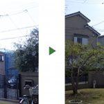道にはみ出たオリーブを剪定して見通し改善 奈良県生駒市