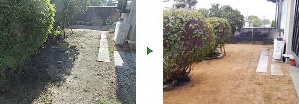 デコボコの庭に芝張り