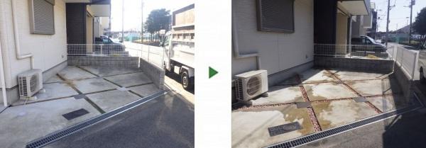 自宅駐車場に防草シート・砂利敷きをした事例 前後写真
