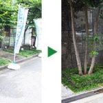 タマリュウの植栽と犬や猫の侵入防止に柵設置 大阪市中央区
